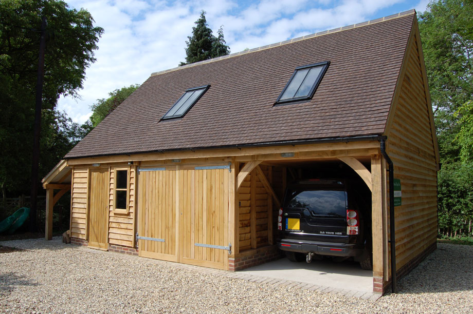 Green oak timber framed garages car ports south for Garage and carport